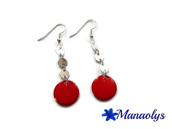 Pink earrings, enamel, enameled charms 3288