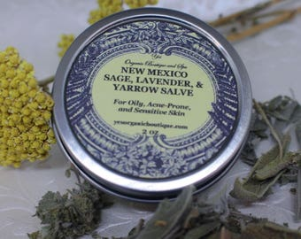 New Mexico Sage, Lavender, and Yarrow Salve - For Acne-Prone, Reactive or Sensitive Skin - Special Offer with New Mexico Sage Hydrosol