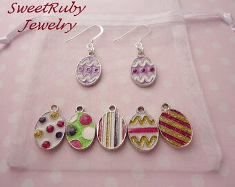 Easter Colorful Eggs Dangle Earrings 1 Pair-Silver Filled (925/10) Earring Wires-Easter, Christmas,Birthday,Valentine's Day,Holidays,Parties