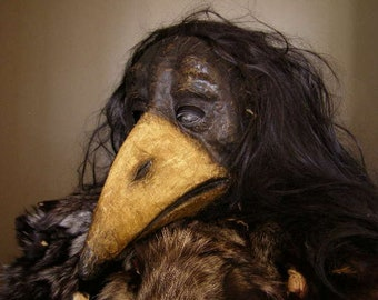 Masquerade mask Raven mask Crow mask Plaque Doctor mask Paper mache mask Bird mask Halloween mask
