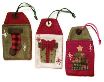 Christmas Gift Card Holders Ornaments ~ Embroidered Felt Gift Tags ~ Country Plaid Xmas Tree, Presents, Stocking Stuffer Gifts Under 5