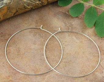 "Hoop Earrings - Sterling silver .925 - 2"" (50mm) - Thin Lightweight Hoops - One Pair Hoop Earrings"