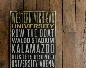 Western Michigan University Broncos Distressed Wood Sign-Great Father's Day Gift!