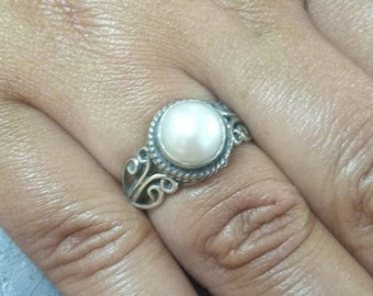 Pearl Ring, Pearl silver ring, Sterling Silver ring, Pearl Ring Silver, size US 3 - 12, handmade ring, gift idea