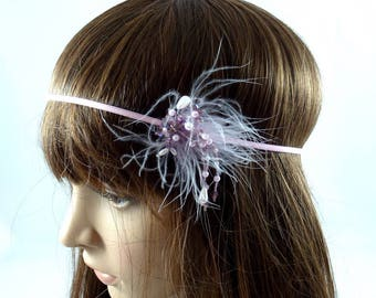 Headband feathers and beads - purple color.