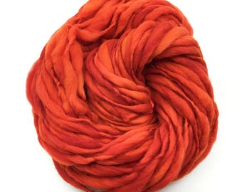 Thick and thin handspun yarn, spun super bulky weight in merino wool - 57 yards, 3.4 ounces/ 97 grams
