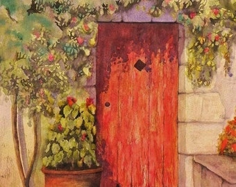 The Red Door, Made in Donegal. Irish Art, Irish Watercolour, Limited Edition Print from original watercolour.