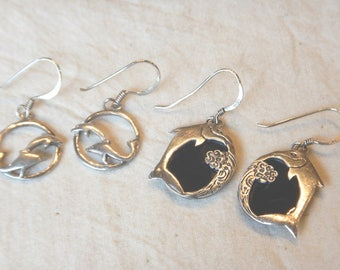 2 Pair Sterling Silver Dolphin Earrings One with Black Onyx Flat Cabochons .925 French Hook Pierced Earwires