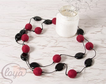 Necklace with Cotton Beads, Crochet Cotton Beads Necklace, Long Necklace, Knitted Cotton Yarn Beads Necklace, Handcrafted Necklace