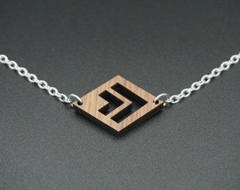 Form-Holz Diamant-Halskette