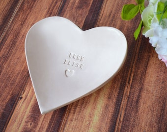 Baptism Gift, First Communion Gift or Confirmation Gift - Large Personalized Heart Bowl with Heart Stamp  - With Gift Box