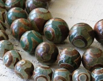 Rustic Tribal Tibetan Dzi Beads - Round Tibetan Agate Beads - Jewelry Making Supplies - Rustic Agate Beads - 3 Sizes -  Choose Amount