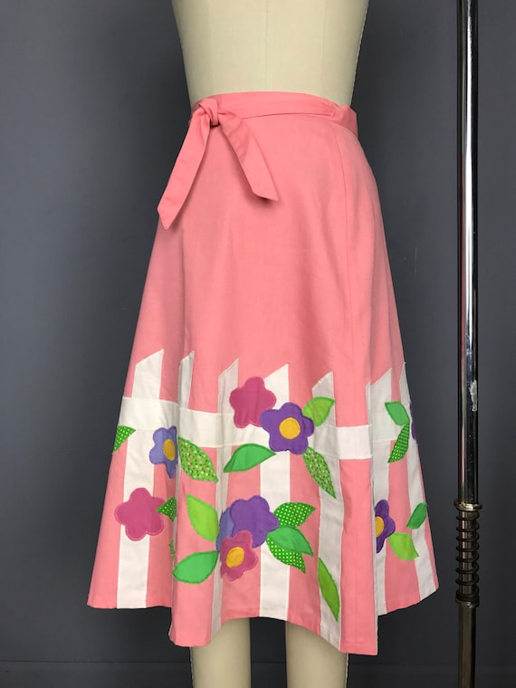 Fence and Flowers Wrap Skirt