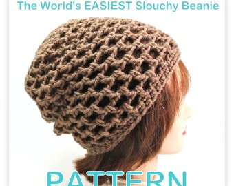 PATTERN - The World's EASIEST Slouchy Beanie - Crochet  PhotoTutorial - Permission to Sell