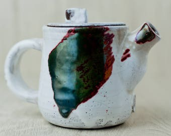 "Pottery teapot Wabi sabi style Raku Fired Teapot for tea ceremony use Size: 4"" height,  3.5"" width, 11 fl oz"