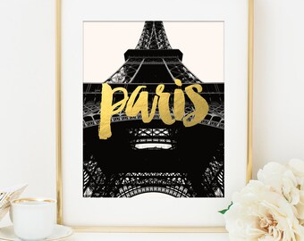 Paris Print, Eiffel Tower Print, Paris Art Print, Eiffel Tower Art, Gold Paris Print, Faux Gold Foil, Paris Photography, Travel Print Poster