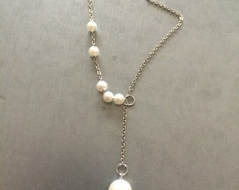 Pearl pendant necklace, floating pearl necklace, Adjustable length