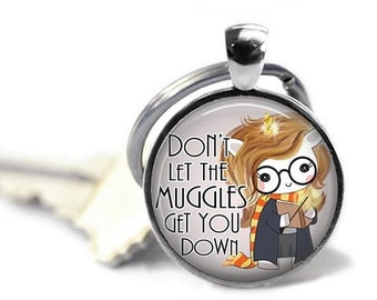 ON SALE - Quote, Charm Keychain, Gifts for Teachers, Geeky Gift, Hogwarts, Gifts for Book Lovers, Harry Potter Gifts for Her, Muggles