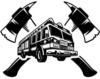 Firefighter Logo #26 Firefighting Rescue Axes Fireman Fighting Fire Engine Truck Emt Emergency .SVG .EPS .PNG Vector Cricut Cut Cutting File