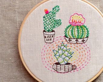 Hand embroidery pattern, cactus embroidery, Digital PDF download, modern hand embroidery patterns by NaiveNeedle