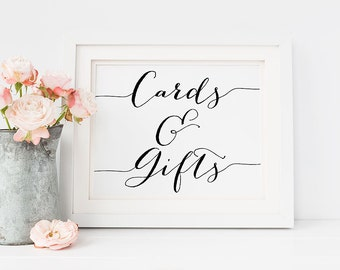 """PRINTABLE Art """"Cards and Gifts"""" 8x10 5x7 Wedding Sign, Printable Reception Sign Wedding Decor, Party Sign Modern Calligraphy Download"""
