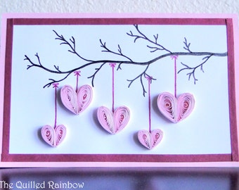 Quilled Hanging Hearts, Handmade Mothers Day Card, Hearts Hanging from a Branch, Valentines Day Card, Birthday Card, Anniversary Card