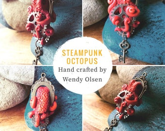 Red steampunk octopus pendant