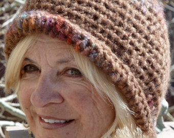 Brown winter hat in handcrafted crochet, women's winter head fashions, Bohemian hat, unique and creative warm winter hat, gift for her
