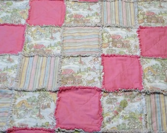 Nursery Rhyme rag quilt, Pink with Pastel Colors Quilted Rag Crib Throw