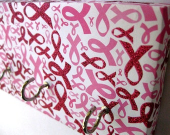 Breast Cancer Awareness Jewelry Holder Key Rack Pink Ribbon Breast Cancer Awareness Month, Pink and White Cancer Awareness Anti-Cancer