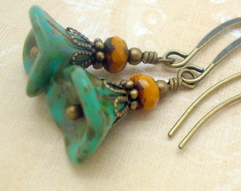 Small Bohemian Earrings in Sulphur Yellow and Turquoise Blue Glass Flowers