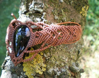 Wrist or ankle bracelet with Mahogany Obsidian.