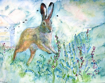 Hare Print Hare Print Hare and Bluebells Beautiful Giclee Print of  Watercolour and Ink Painting on Watercolour Paper