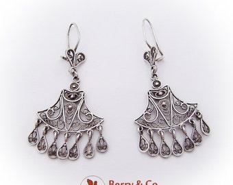 Ornate Filigree Dangle Earrings Sterling Silver