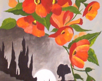 "Original Acrylic Painting Landscape, Moon and Orange Flowers, Flower Art 9 x 12""  by Michael Hutton"