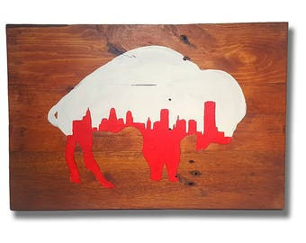 Buffalo with City Skyline Pallet Sign
