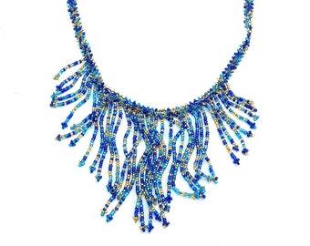 Cobalt Fringe Necklace