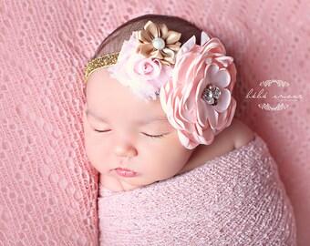 baby headband, Pink Newborn Headband, baby girl headband, Toddler Headband - Pink and Gold Headband