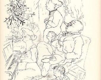 "George Grosz 1939 WPA Book Print ""Heilige Nacht"" Vintage Portraits Cartoon Artwork from Sketch"