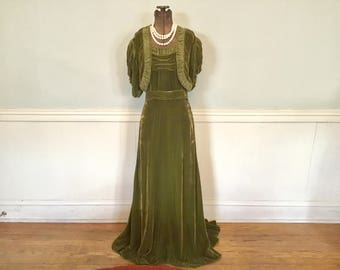 1940s Velvet Evening Gown / 1940s Dress / Vintage Evening Gown Dress Green Velvet
