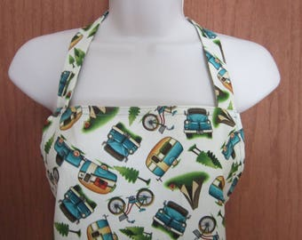 Adult Full Apron Glamping Vintage campers, bicycles and trucks