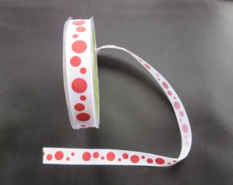 25 Yards   - White With Red Dots  Ribbon