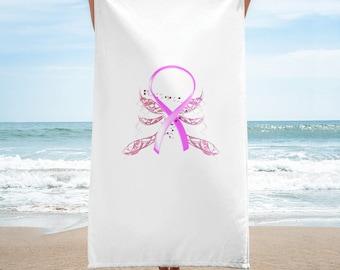 Winged Pink Ribbon Towel