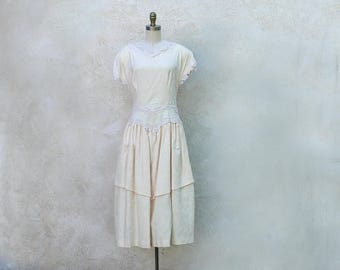 Ivory Wedding Dress, Drop Waist Cotton 80s with Cutout Back and Lace Trim