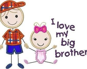 INSTANT DOWNLOAD Stick figures I love my big brother baby sister Applique designs