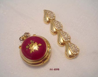 Vintage Perfume Poison Locket and Heart Brooch - Lot of 2 (4-4098) Free Ship
