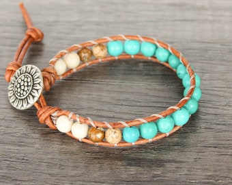 Turquoise Wrap Bracelet with Sunflower Button • Turquoise Bracelet • Beachy Bracelets • Boho Wrap Bracelet • Sunflower Bracelet • 1XTBL006