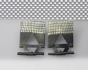 UNIQUE geometric post stud earrings, sterling silver oxidized earrings, modern jewelry