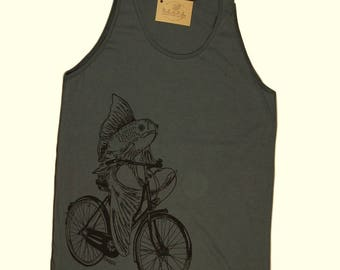 Mens Tank Tops - Fish on a Bike Tank Top - Funny Mens Tank Tops - Graphic Tanks Tops - Cool Tank Tops - Hipster Tanks - Printed Nautical