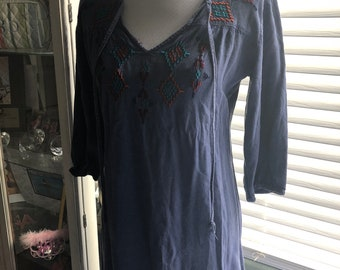 Jean dress with embroidery